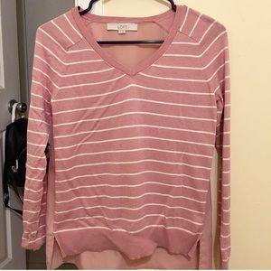 LOFT XS pink/white striped top